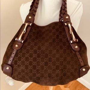 Authentic Gucci Large Pelham Suede Brown Handbag